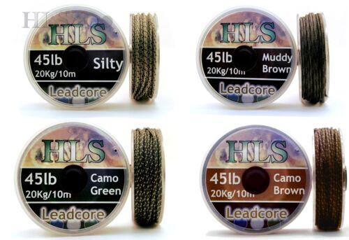 Lead core 45lb x 10m spool Silty Muddy Camo green Camo brown carp fishing