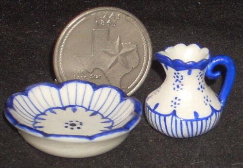 Dollhouse Miniature Pitcher /& Wash Basin 1:12 Bath Mexican Puebla Blue #3800