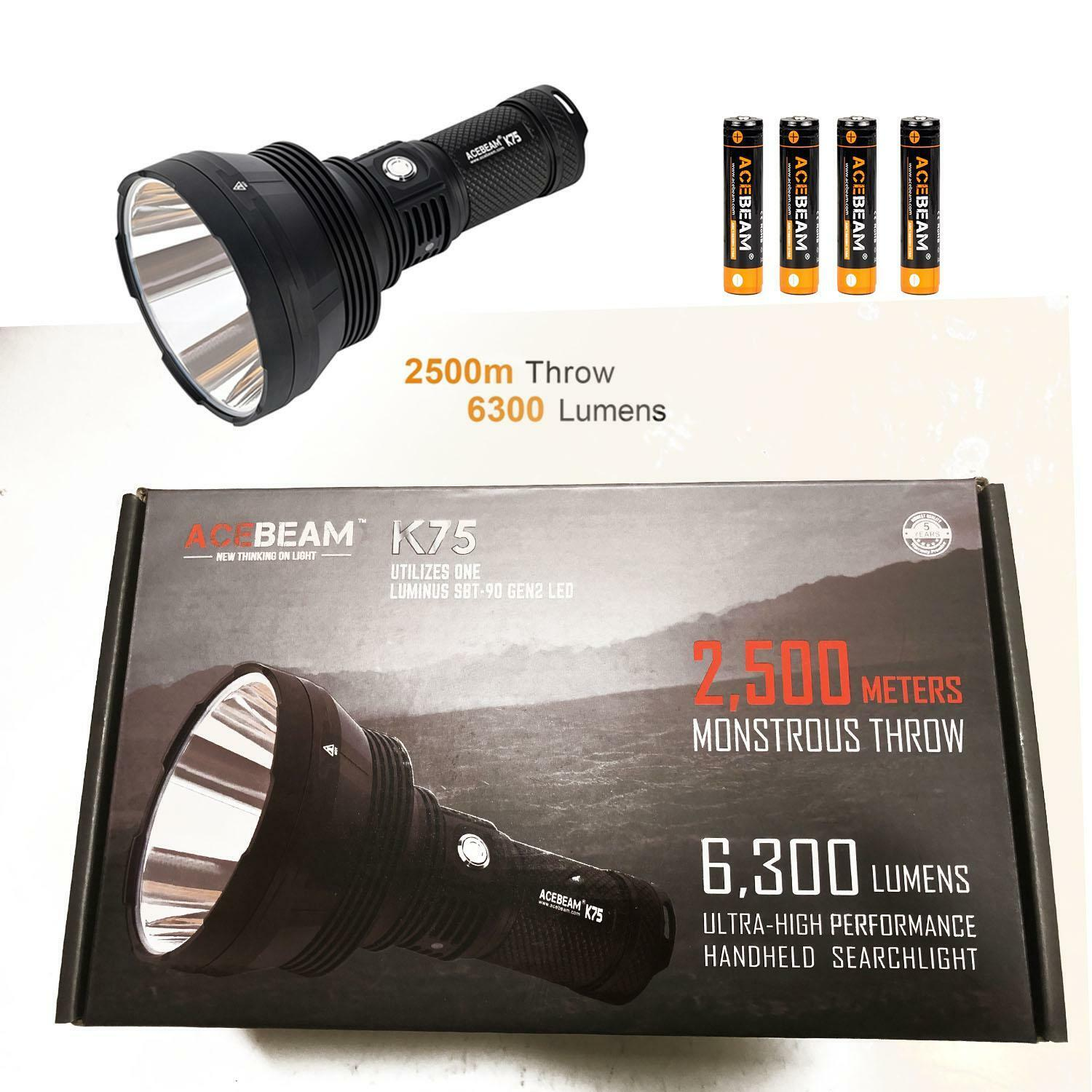 Combo  Acebeam K75 Long throw Search Light - 6300 LuSie, 2500 Meter with 4