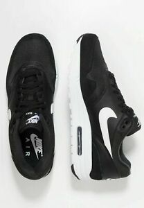 Nike-Air-Max-1-Hommes-Noir-Cuir-Blanc-Chaussures-Baskets-Sneaker-Sport-Taille-UK-6-12