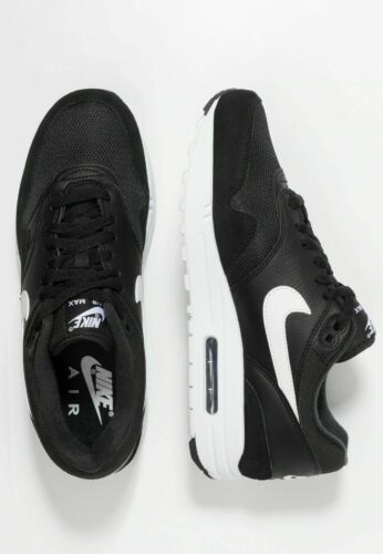 Nike Air Max 1 Mens Black White Leather Shoe Trainer Sneaker Sport UK Size
