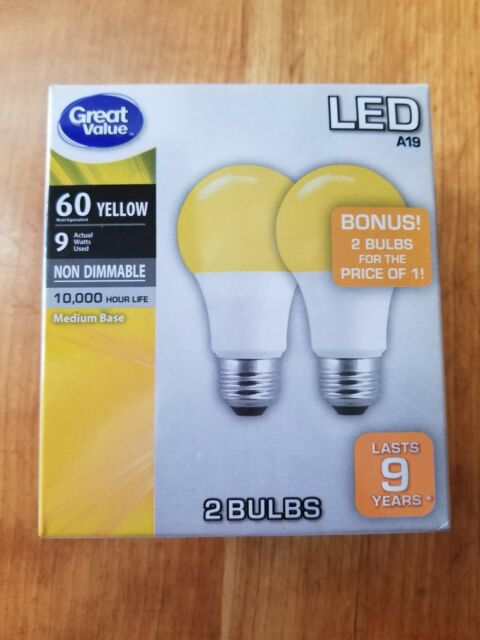 2 Yellow Led Bulbs 60 Watt Equivalent 9w Actual A19 Nondimmable Halloween