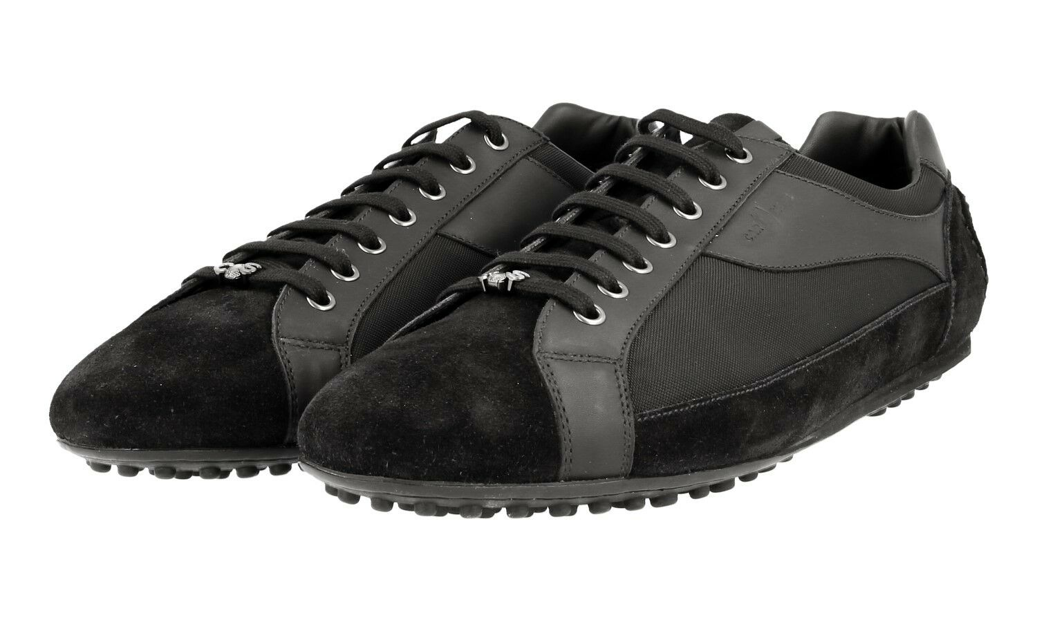 AUTH CAR SHOE BY PRADA SNEAKERS SHOES KUE744 BLACK NEW US 10