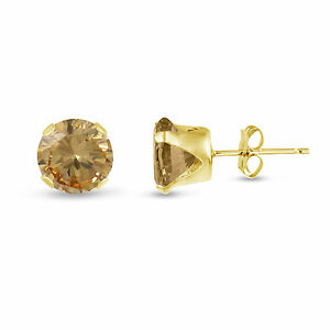 Genuine-Round-Golden-Yellow-Citrine-Gold-Plated-Silver-Stud-Earrings-November