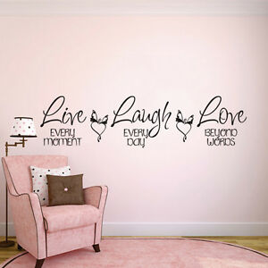 Live Every Moment Laugh Love Wall Decal Motivational Quote Vinyl - Wall decals motivational quotes