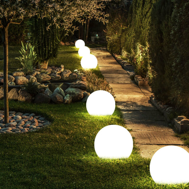 Set of 6 LED Solar Lamps Outdoor Area Garden Light up Sphere Design Earth Spit for sale online