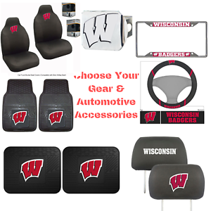 NCAA-Wisconsin-Badgers-Choose-Your-Gear-Auto-Accessories-Official-Licensed