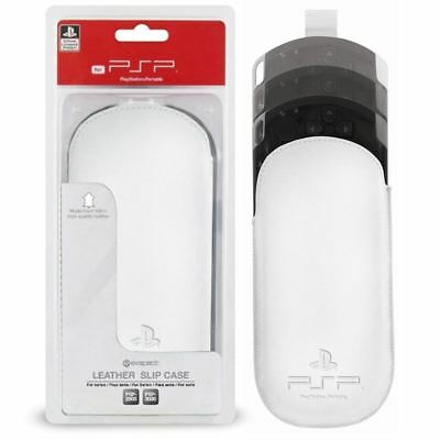 QUALITY LEATHER SLIP PROTECTIVE CASE POUCH COVER FOR PSP 3000 PSP 2000 WHITE