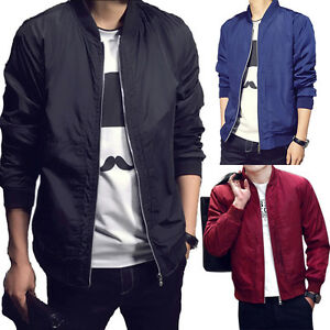 Men-039-s-Padded-Bomber-Jacket-Bike-Motorcycle-Coat-Zip-Outwear-Streetwear-Plus-Size
