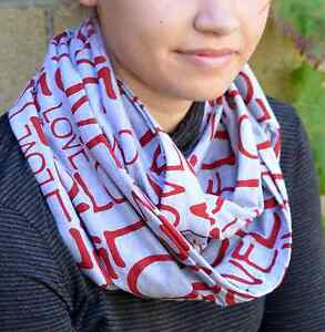 LOVE-Letters-Cotton-Knit-Heather-Gray-Infinity-Cowl-Scarf-gift-for-women