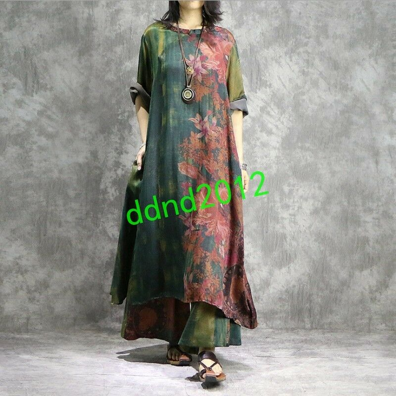 Vintage Women Silk Cotton Linen Print Long Dress+Loose Pants Suits 2PCS Oversize