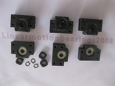 Ball screw bearing mounts end supports 3 sets BK12 BF12 (3 BK12 and 3 BF12)