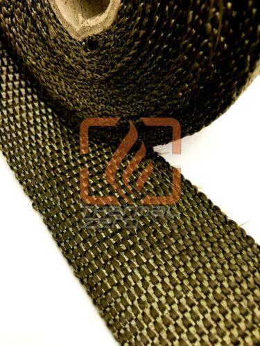 "Titanium Lava Exhaust Header Pipe Heat Wrap 2 Rolls 2/""x50/' Black Stainless Ties"