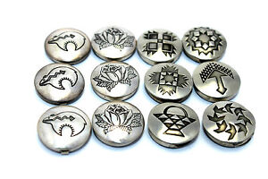 12-Vintage-1950s-NAVAJO-Modernist-Sterling-Silver-TRIBAL-DESIGN-Button-Covers