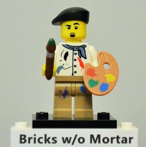 New Genuine LEGO Artist Minifig with Paint Palette and Brush Series 4 8804