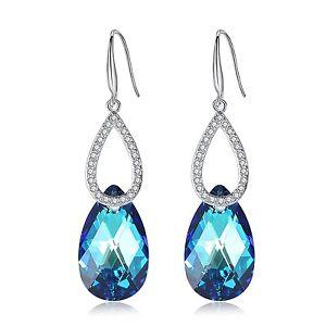 Leafael-Swarovski-Crystal-Double-Teardrop-Hoop-Blue-Dangling-Silver-Earrings