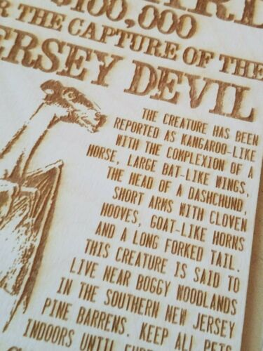 Jersey Devil Wanted Poster On Wood