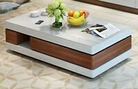 Solid wood+ Tempered glass, High Gloss Paint Coffee Table