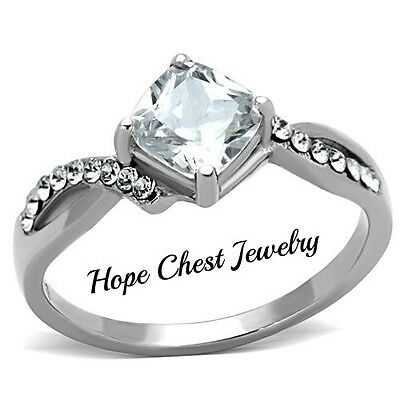 WOMEN'S STAINLESS STEEL 1.3 CT PRINCESS CUT BRIDAL CZ ENGAGEMENT RING SIZE 5-10