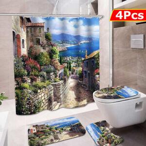 Bathroom-Shower-Curtain-Toilet-Seat-Cover-Cushion-Mat-Non-Slip-Pedestal-Rug-Set