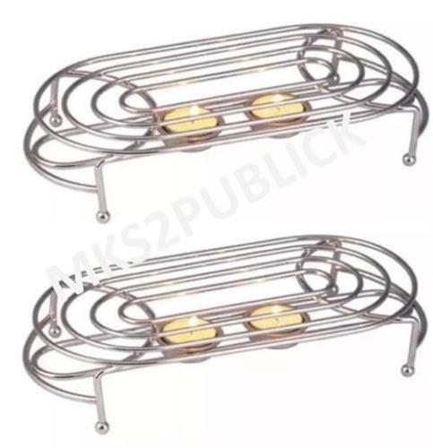 2 x Double Food Warmer frottement Chrome Plaque Brûleur Avec 4 Tea Lights cuisine nouveau