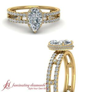 17f69c6808e4c Details about 2 Ct. Pear Shape Diamond Bezel Set Under Halo Engagement Ring  In 18K Yellow Gold