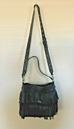 Lauren Ralph lauren Womens Black Fringe crossbody