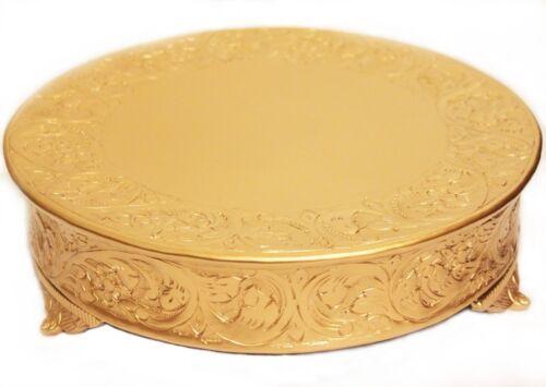 Grand Wedding Matte Gold Round Cake Stand Plateau 16 Inch Wedding Cake Stand