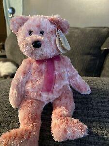 """Ty Beanie Babies """"Smitten"""" 2002 Pink Teddy Bear Plush Valentine's Day Black nose"""