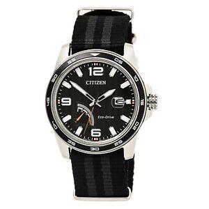 Citizen-AW7030-06E-Men-039-s-Black-Dial-Black-amp-Grey-Nylon-Strap-Watch