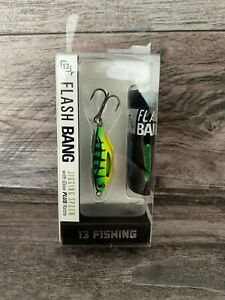 "13 Fishing Flash Bang Jigging Spoon w/Glow + Rattle FIRE TIGER FB-FT38 1-1/2"""