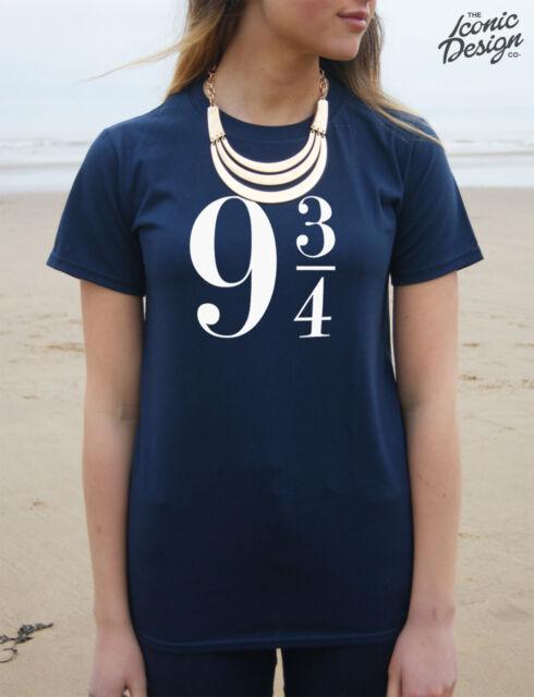 * 9 3/4 Harry Potter T-shirt Top Platform Nine & Three Quarters Logo Tumblr *
