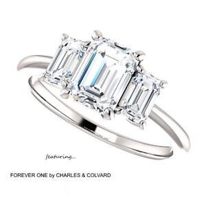 2-50-Carat-Emerald-Cut-Moissanite-Forever-One-Ring-14K-Gold-Charles-amp-Colvard