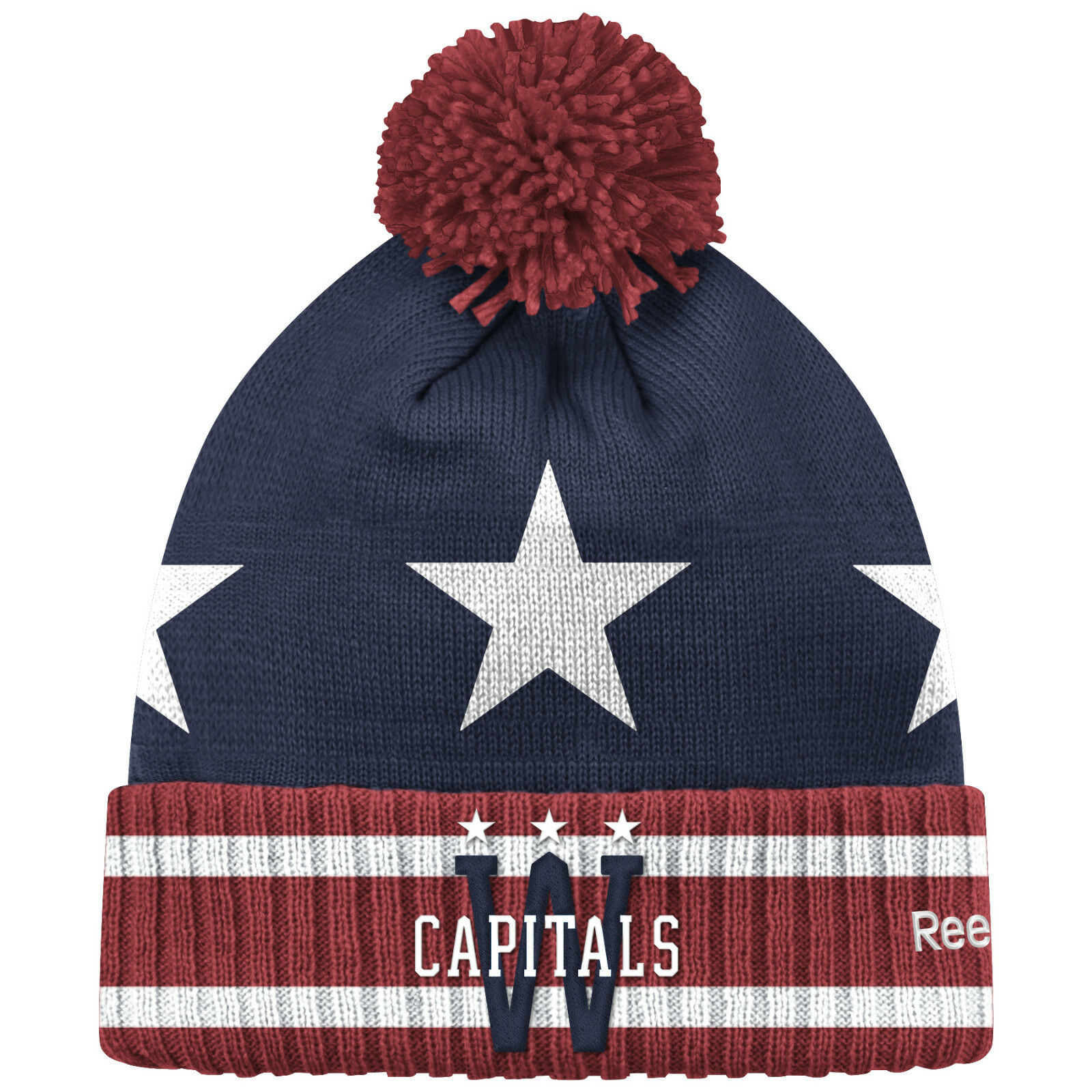 74e45947315 Washington Capitals 2015 NHL Winter Classic Reebok Cuffed Pom Knit ...