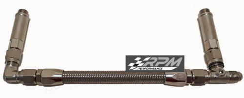6AN Barry Grant Demon Carb Carburetor Dual Feed Fuel Line Braided SILVER F7