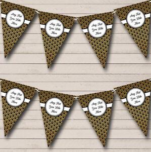 Nero e Oro Personalizzato Compleanno Striscione di bandierine Festa  </span>