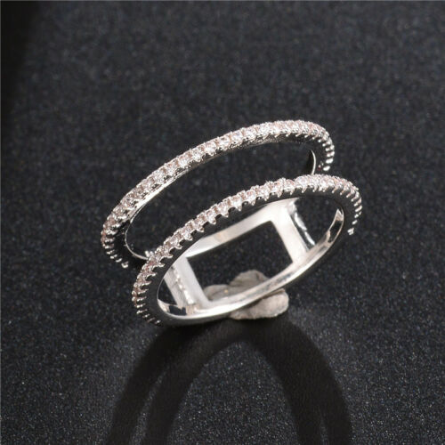 Fashion Rings pour Femmes argent 925 Or Blanc Saphir Bague Taille 6-10 Or rose
