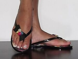 3321f2beca57 Womens Jelly sandals Black with Bow thong sandals Flip Flop Canvas ...