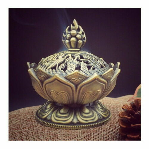 Lotus Incense Burner Alloy Mini Retro Sandalwood Censer Home Decor Room Charm