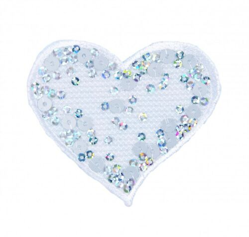each ... Craft Factory Iron or Sew On Fabric Motif Applique Sequin White Heart