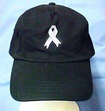 Baseball Cap Gray Awareness Ribbon Brain Lung Cancer Diabetes Black Hat New