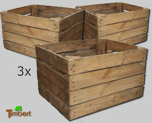 3x vecchio cassetta frutta cassetta mele cassette di vino legno
