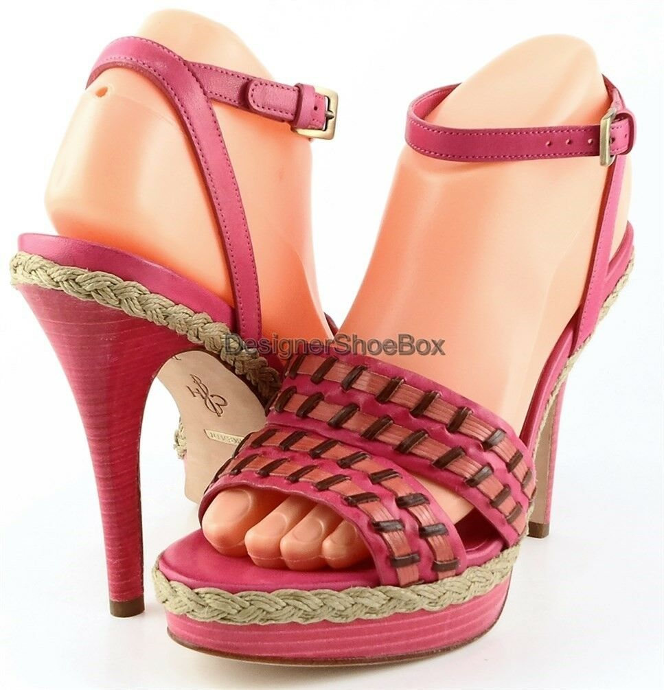 328 COLE HAAN AIR VANESSA Pink Multi Leather Designer Platform Sandals 7.5