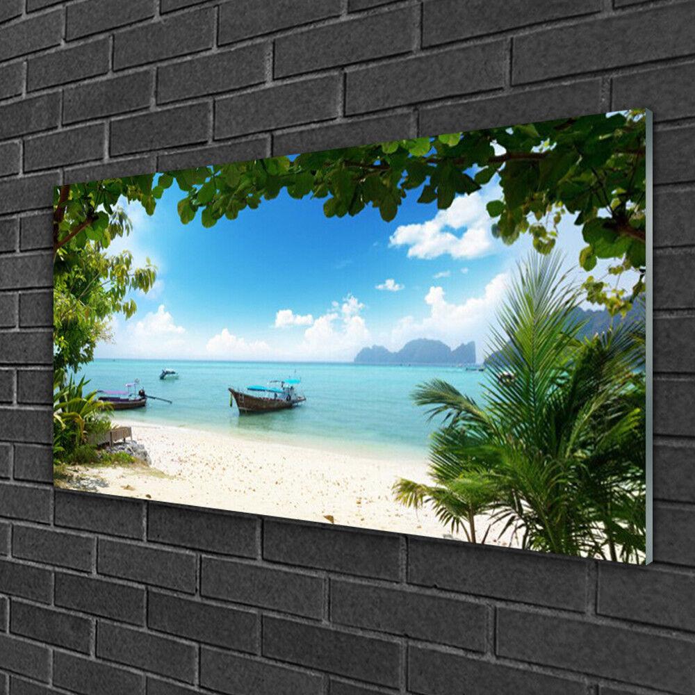 Image sur verre Tableau Impression 100x50 Paysage Bateau Mer