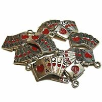 Lot Of 10 Hand Painted Tibetan Silver Playing Cards Charms