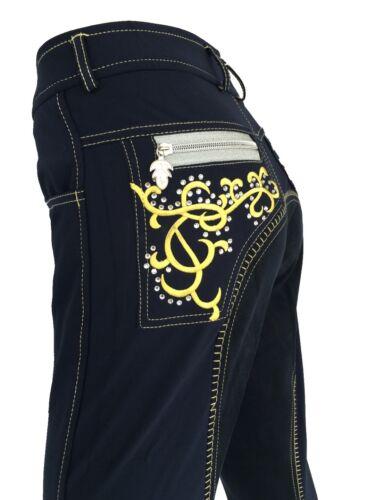 Ladies Blue Jodhpurs Bling Breeches Full Seat Suede Lycra Sock Sizes 6-16