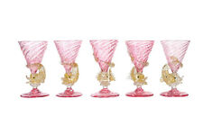 Murano set of 5 Pink Cordials Glasses w/Gold Dolphins stems c.1920s