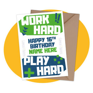PERSONALISED BIRTHDAY CARD - Work Play Hard - personalized ps4 ps5 xbox gamer