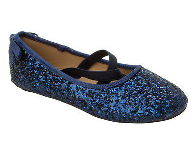 3b7f0ac5 Details about GIRLS NAVY GLITTER EVENING PARTY BRIDESMAID WEDDING PUMPS  SHOES KIDS SIZE 10-2