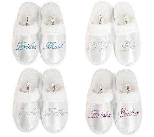 Bridal Party Slippers Bride Bridesmaid Spa Hen Weekends Wedding Diamante gift